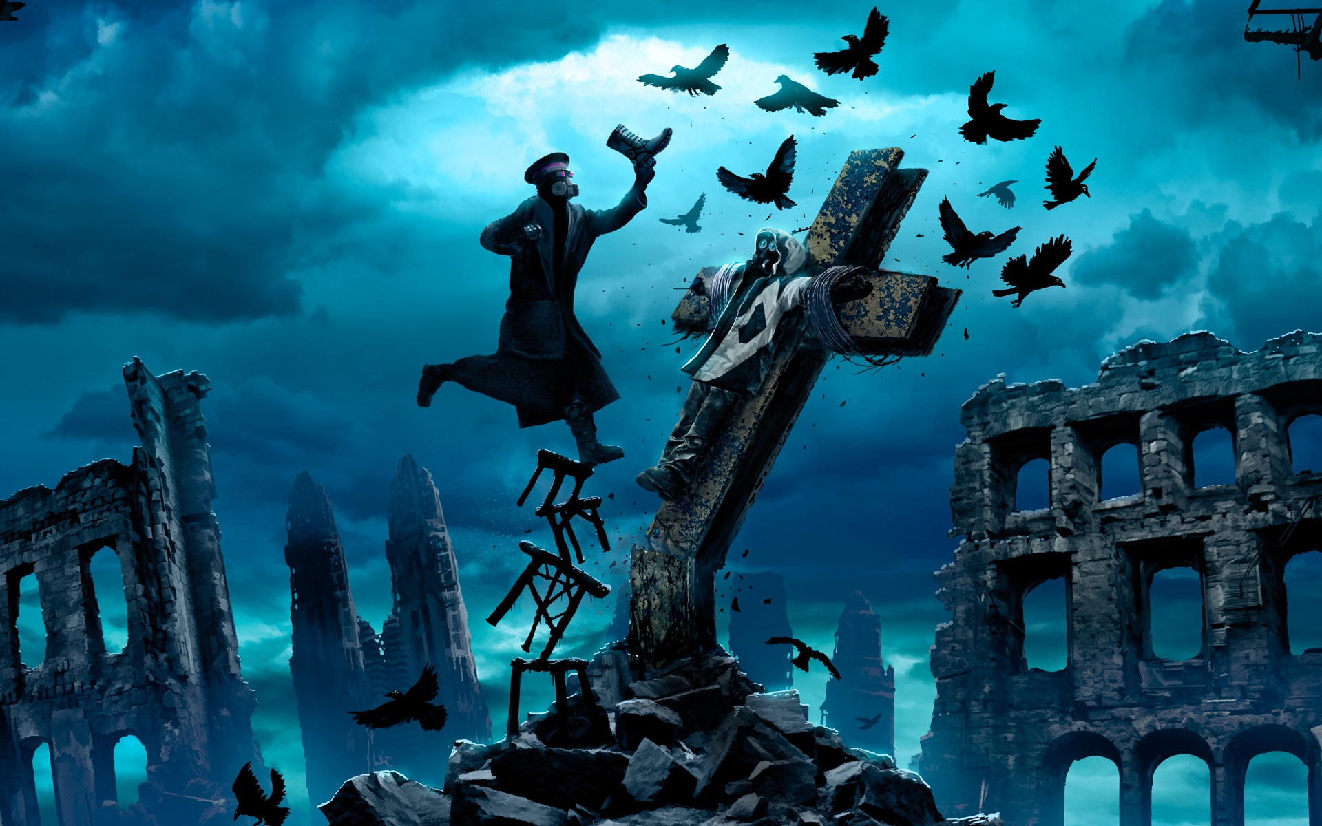 신의 죽음_Romantically-Apocalyptic-crows-ruins-crucifixion-captain-fantasy-art_1920x1200.jpg